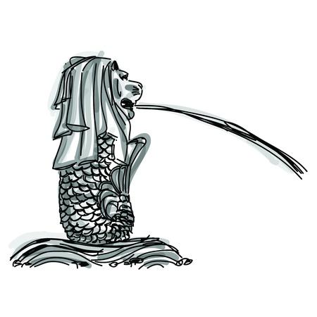 Vrije hand schets wereld beroemde bezienswaardigheid collectie: Singapore Merlion, Singapore Redactioneel