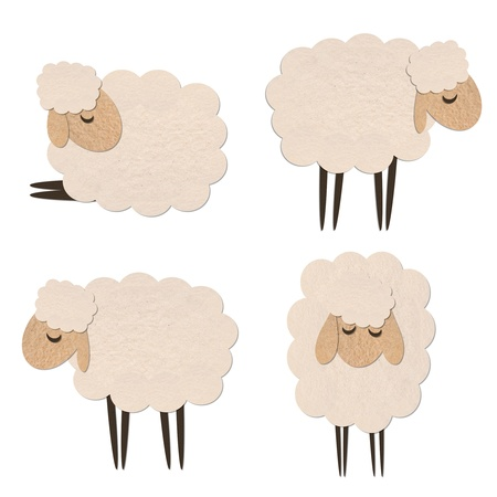 sheep paper craft stick object on white background Stock Photo - 15449744
