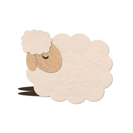 sheep paper craft stick object on white background Stock Photo - 15449742