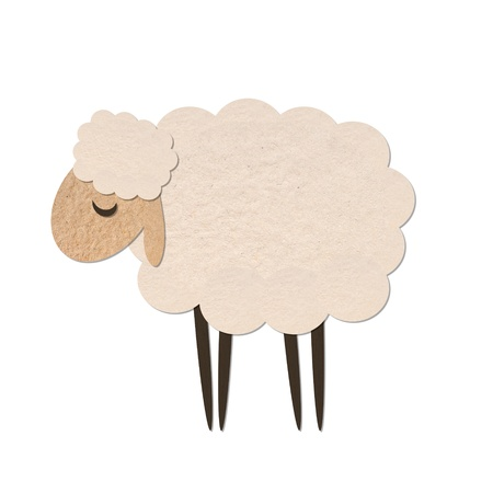 black sheep: sheep paper craft stick object on white background
