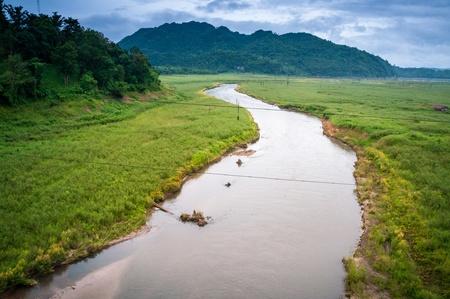 tonle sap: Natural river and mountain  Stock Photo