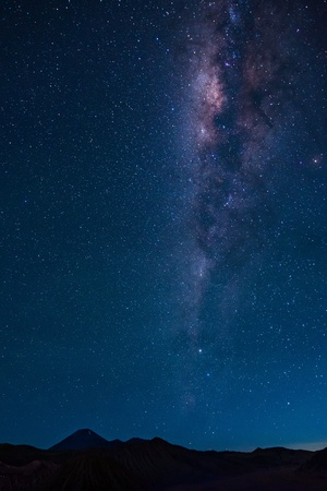 Mount Semeru with milky way galaxy, East Java, Indonesia. photo