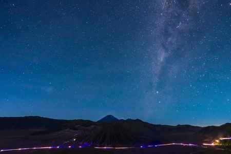 Extreme long exposure image showing star above the Bromo Volcano, Indonesia Stock Photo - 22135313