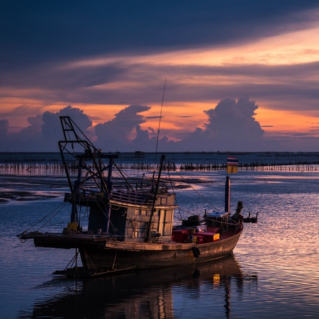 huahin: Fisherman Boat with sunset sky environment