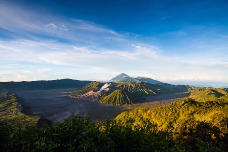 Mount Bromo volcanoes in Bromo Tengger Semeru National Park, East Java, Indonesia.   photo