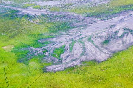 Texture of Road around Mount Bromo volcanoes in Bromo Tengger Semeru National Park, East Java, Indonesia. photo
