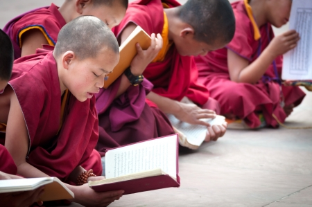 GANGTOK, SIKKIM, INDIA - AUG 19  An Unidentified Tibetan lama prays mantra at Ramtek Monastery on August 19, 2012 in Gungtok, Sikkim, India