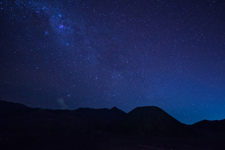 stargazing: Extreme long exposure image showing star trails above the Bromo Volcano, Indonesia Stock Photo