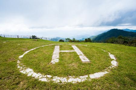 Helicopterbaan op gras