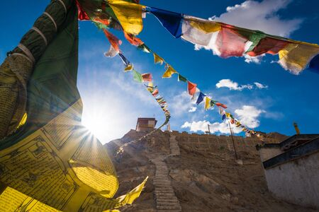 Buddhist Praying flags floating in the wind Leh Ladakh, India