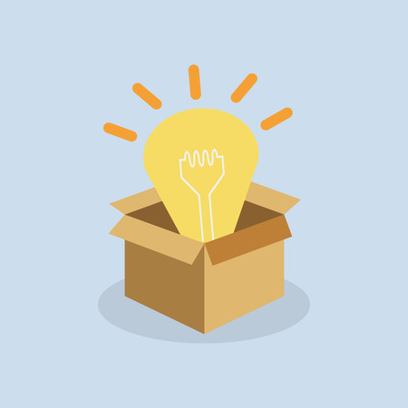 new idea: Open the box with new idea concept  vector illustration