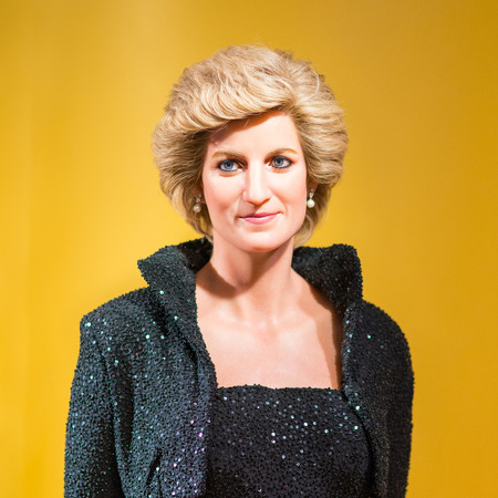 celeb: A waxwork of Diana queen on display at Madame Tussauds on Oct 21, 2012 in Bangkok, Thailand. Madame Tussauds newest branch hosts waxworks of numerous stars and celebrities.