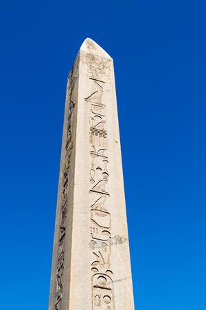 hippodrome: Obelisk of Theodosius Egyptian Obelisk near Blue Mosque Sultanahmet camii in the ancient Hippodrome on April 08 Istanbul, Turkey