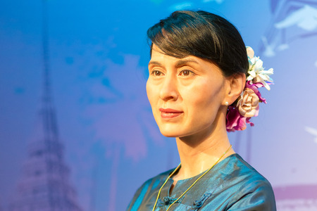 A waxwork of Aung San Suu Kyi on display at Madame Tussauds on Oct 21, 2012 in Bangkok, Thailand. Madame Tussauds' newest branch hosts waxworks of numerous stars and celebrities.