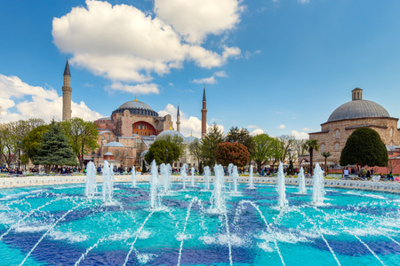 constantinople ancient: ISTANBUL TURKEY  APRIL 08 2015: The Sultanahmet square is the popular tourist place with the numerous landmarks and museums on April 08 Istanbul Turkey Editorial