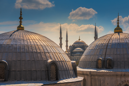 ottoman empire: Blue mosque at Istanbul, Turkey. The biggest mosque in Istanbul of Sultan Ahmed Ottoman Empire. Stock Photo