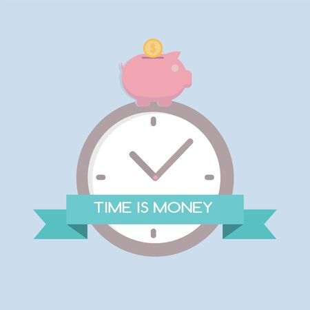 analogy: Flat design for time is money concept background, EPS10
