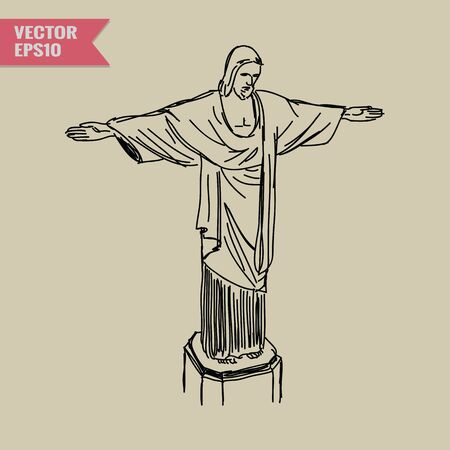 corcovado: Free hand sketch World famous landmark collection : Christ the Redeemer Statue in Rio de Janeiro, Brazil Stock Photo
