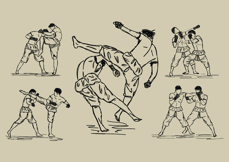 male boxer: Free hand sketch Thai Boxing Collection : Muay Thai martial art popular around the world.
