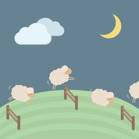 ovejas: Ejemplo lindo del vector de las ovejas para el concepto del sueño EPS10 Vectores