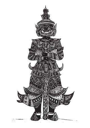 タイの大手。タイ旅行の要素設計。手描きイラストです。