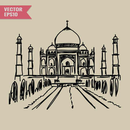 agra: Free hand sketch World famous landmark collection : Taj Mahal Agra India. Illustration