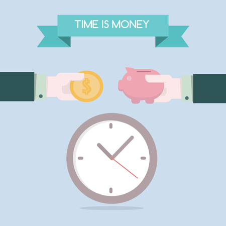 analogy: Flat design for time is money concept background EPS10
