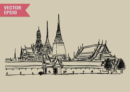 フリーハンド スケッチ世界有名なランドマーク コレクション: グランド宮殿ワット ・ プラ ・ ケオ バンコク タイ。  イラスト・ベクター素材