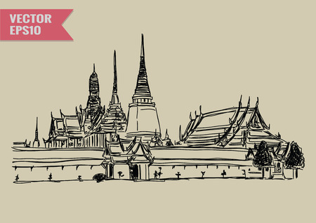 Boceto a mano alzada Mundial colección famoso monumento: Palacio magnífico Wat Phra Kaew Bangkok Tailandia. Vectores