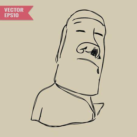 moai: Boceto a mano alzada Mundial famosa colecci�n inter�s: Moai en la isla polinesia de la isla de Pascua Chile. Vectores