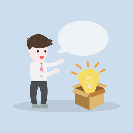 Business man open the box with new idea concept with bubble for fill in wording EPS10 vector illustration Illustration