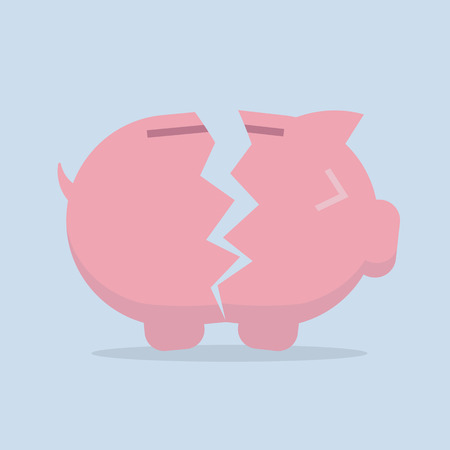 cartoon bank: Broken Piggy bank vector flat icon  EPS10 vector illustration Illustration