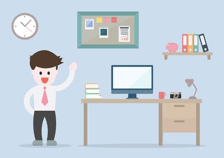 modern home: Flat design vector illustration of modern home office interior with designer desktop EPS10