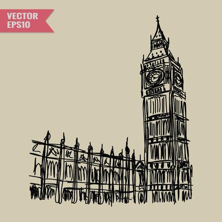 Free hand sketch World famous landmark collection : Big Ben London England. Illustration