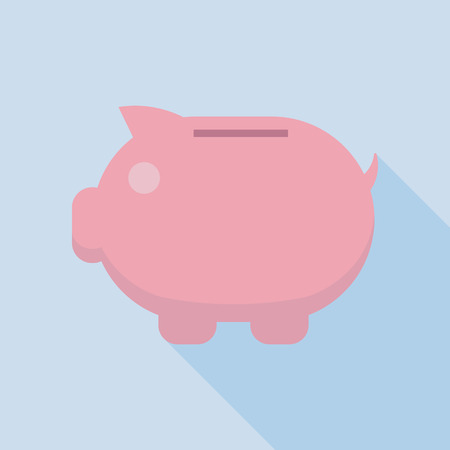 deposit: Piggy bank vector flat icon  EPS10 vector illustration