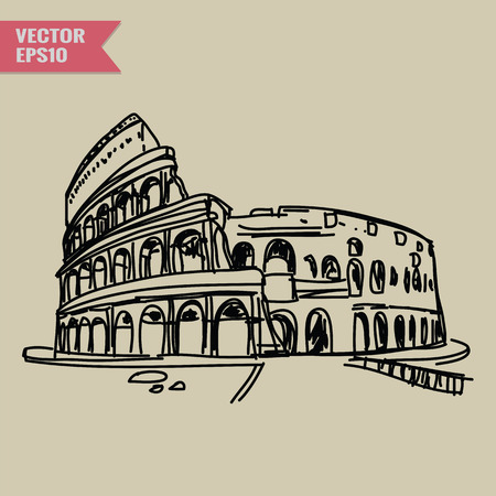 rough draft: Free hand sketch World famous landmark collection : Colosseum in Rome Italy.