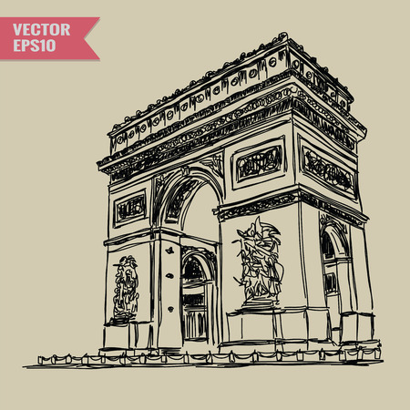 arc: Free hand sketch World famous landmark collection : Arc de Triomphe Paris France.