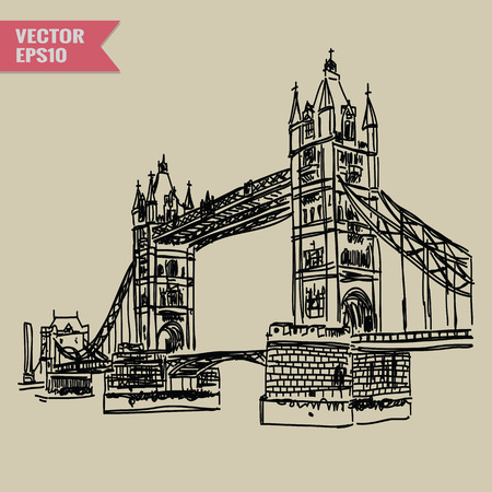 free hand: Free hand sketch World famous landmark collection : Bridge tower London England. Illustration