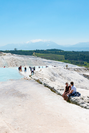 world natural heritage: Natural travertine pools and terraces at Pamukkale ,Turkey. Pamukkale, meaning cotton castle in Turkish.Pamukkale, UNESCO world heritage site, nowadays become one of the most visited sights in Turkey.