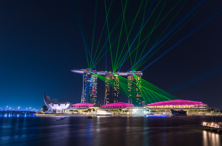 standalone: Laser show at the Marina Bay Sands  in Singapore. Marina Bay Sands is an integrated resort and the worlds most expensive standalone casino property.