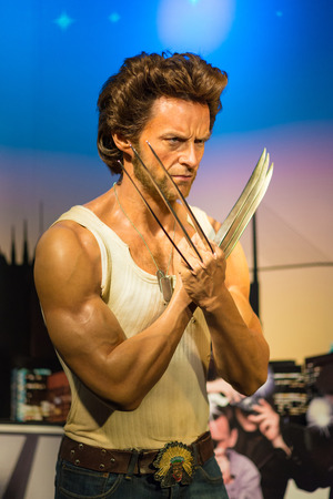 celeb: BANGKOK -JULY 22: A waxwork of Wolverine on display at Madame Tussauds on July 22, 2015 in Bangkok, Thailand. Madame Tussauds newest branch hosts waxworks of numerous stars and celebrities Editorial