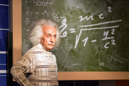 BANGKOK - JUL 22: A waxwork of Albert Einstein on display at Madame Tussauds on July 22, 2015 in Bangkok, Thailand. Madame Tussauds newest branch hosts waxworks of numerous stars and celebrities.