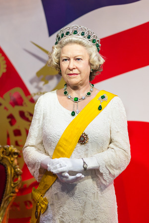 celeb: BANGKOK -JUL 22: A waxwork of Queen Elizabeth on display at Madame Tussauds on July 22, 2015 in Bangkok, Thailand. Madame Tussauds newest branch hosts waxworks of numerous stars and celebrities Editorial