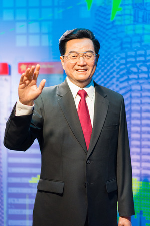 the celebrities: BANGKOK -JULY 22: A waxwork of Hu Jintao on display at Madame Tussauds on July 22, 2015 in Bangkok, Thailand. Madame Tussauds newest branch hosts waxworks of numerous stars and celebrities