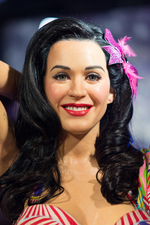 the celebrities: BANGKOK-JUL 22:: A waxwork of Katy Perry on display at Madame Tussauds on on July 22, 2015 in Bangkok, Thailand. Madame Tussauds newest branch hosts waxworks of numerous stars and celebrities