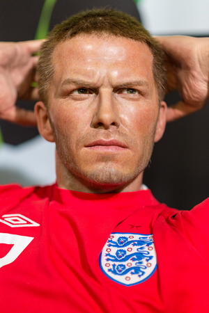 celeb: BANGKOK -JUL 22: A waxwork of David Beckham on display at Madame Tussauds on July 22, 2015 in Bangkok, Thailand. Madame Tussauds newest branch hosts waxworks of numerous stars and celebrities