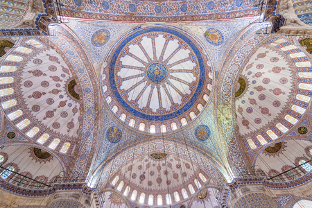 ottoman empire: Inside Interior of the Blue mosque in Istanbul, Turkey.The biggest mosque in Istanbul of Sultan Ahmed (Ottoman Empire). Editorial