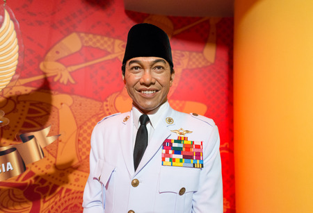the celebrities: BANGKOK - JUL 22: A waxwork of Soekarno on display at Madame Tussauds on July 22, 2015 in Bangkok, Thailand. Madame Tussauds newest branch hosts waxworks of numerous stars and celebrities.