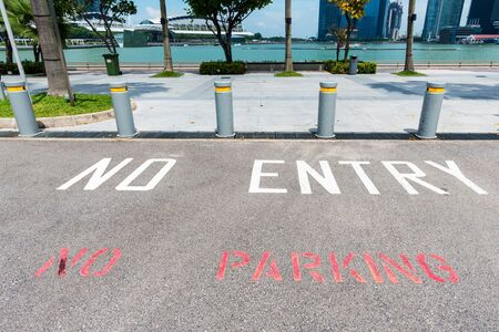 no entry: No Parking and No entry sign painted on asphalt in a park