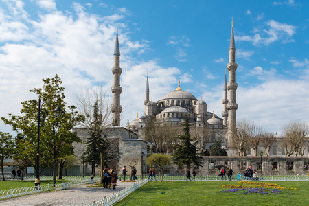 obelisk stone: ISTANBUL, TURKEY - APRIL 08, 2015: The Sultanahmet square is the popular tourist place with the numerous landmarks and museums, on April 08 Istanbul, Turkey